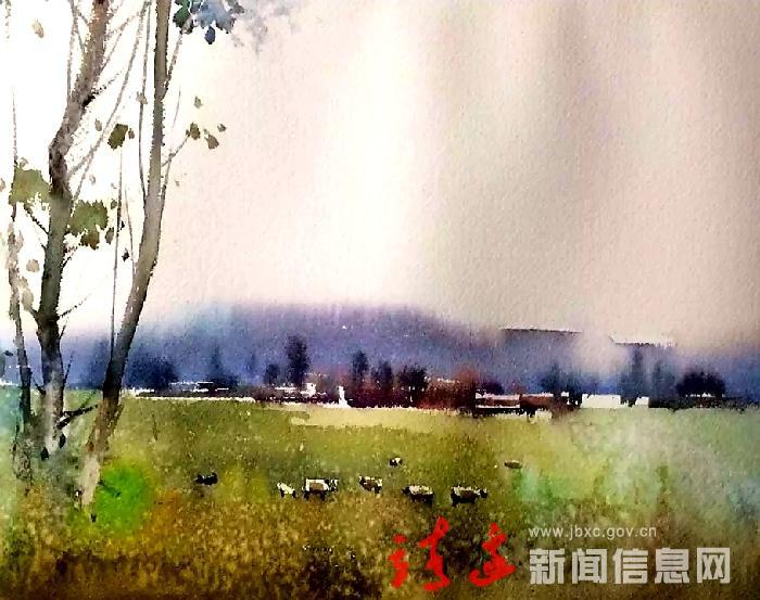 """靖边中学美术教师张涛水彩画《旧城》入编""""十三五""""高校艺术类精品课程规划教材"""