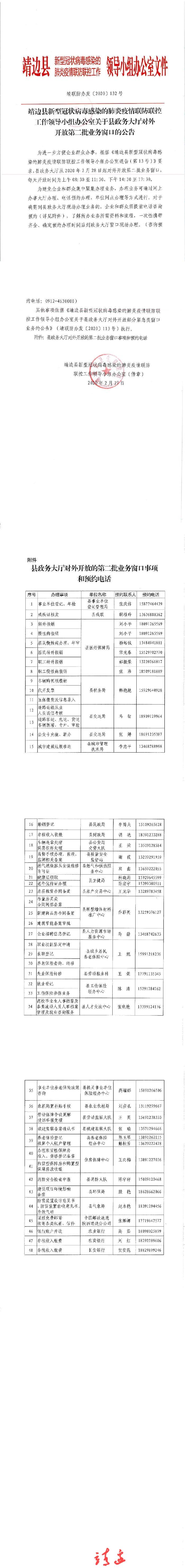 靖边县政务大厅对外开放第二批业务窗口